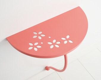 Wall shelf pink. Side table pink. Bedside table. Nursery decor. Kids room decor. Bedroom furniture. Ledge self. Console table.Bedroom decor.