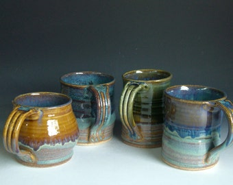 Hand thrown stoneware pottery mixed mugs set of 4  (MM-13)