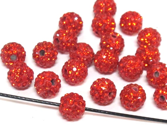 10 Beads - Sparkly bling crystal rhinestone inlaid polymer clay red color beads - 8mm size - BD946