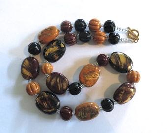 Kazuri Bead Necklace, African Design Beads, Ceramic Necklace, 24 Carat Gold Highlights, Brown and Black Kazuri Necklace