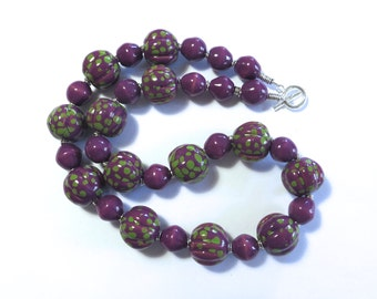Kazuri Bead Necklace, Fair Trade Beads, Ceramic Necklace, Violet and Green Necklace