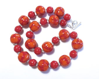 Kazuri Necklace, Ceramic Jewelry, Kazuri Bead Necklace, Red and Orange Kazuri Necklace