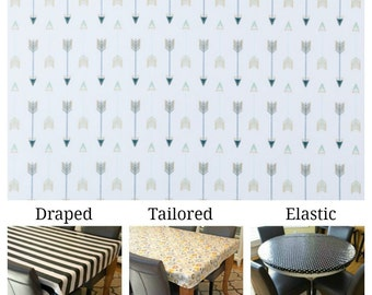 Laminated cotton aka oilcloth tablecloth custom size and fit choose elastic, tailored or draped, arrows on white