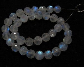 Rainbow Moonstone - AAA - High Quality - So Gorgeous Micro Cut Round Ball Beads Nice Blue Flashy Fire size 6  mm 8 inches  - 36 pcs