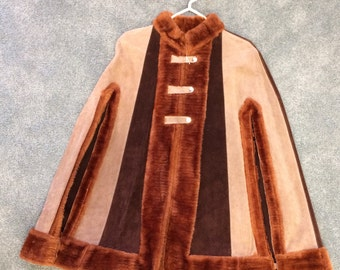 Suede Cape Vintage 60s 70s Top 1960s 1970s Mod Hippie Retro Leather Poncho S XS