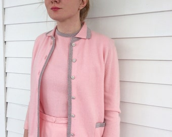 Pink Cashmere Sweater Set 60s Vintage Dalton 3 pc Top Skirt Sweater M