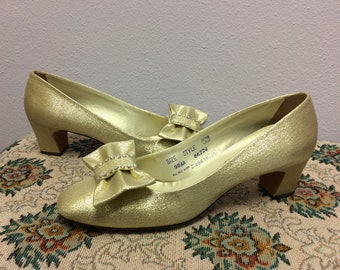 Gold 60s Shoes Mod Heels Vintage Party 9 Narrow Sears