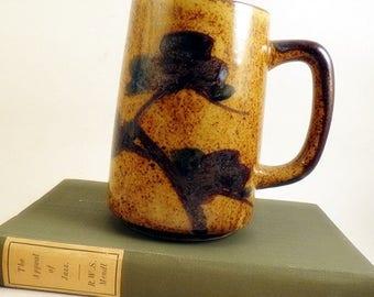 Tall 6 inch Brown Oriental Design Mug Cup Bonsai Look Speckled Large Big