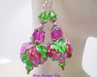 Mardi Gras, Floral Lampwork Earrings in Fuchsia,Ruby and Green. Colorful Floral Earrings in Ruby, Fuchsia and Green