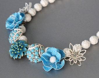 Sky Blue, Enamel Lace. Vintage Rhinestone Earrings Statement Necklace