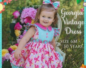 PDF Girls Dress Pattern - Georgia Vintage Dress Pattern, Size 6 Month - 10 Years by The Cottage Mama