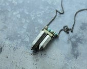 CIVAL Collective - Blain Necklace -   Turquoise & Pyrite Double Dagger Necklace   Stacked Stone Spike Necklace   Modern Boho Jewelry