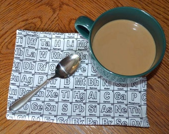 Mug Rugs 7x10 Inches 100% Cotton with cotton batting in the middle- Elements Table Black&White