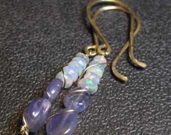 Welo Ethiopian Fire Opal and Tanzanite - Gold Filled Elegant Hooks