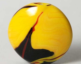 Lampwork Bead Yellow and Black Swirled Lentil