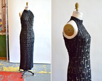 Vintage 1980s SCALA sequined evening gown