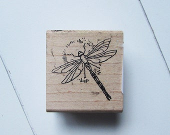 Dragonfly wood mounted rubber stamp