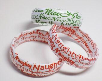 Naughty or Nice Bracelet - Stocking Stuffer - Holiday Jewelry - Christmas Jewelry - Stocking Stuffer Jewelry - Christmas Bangle - Bracelet