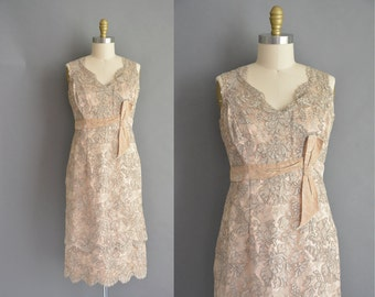 50s ornate heavy lace vintage cocktail party dress for bridal party. vintage 1950s dress.