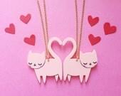 Best Friends Kittens Necklace / Valentines gift / Galentines gift / Best Friend Gift