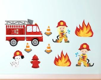 Fire Truck Wall Decals - Fire Fighter Decals - Kids Wall Decals - Re Useable - Fire Department - Fire Truck Decal - Fire Dept Decals
