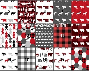 Custom Rustic Buck Crib Bedding, Woodland Crib Bedding, Elk Bedding Set, Crib Bumper, Crib Rail Guard, Plaid, Moose, Personalized Bedding