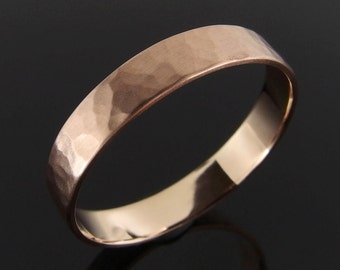 Flat Profile Hammered 14k Rose Gold Band Ring, Rose Gold Wedding Band, Rose Gold Wedding Ring, Low Profile, Satin Finish, 4 mm, 5 mm, 6 mm