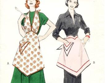 Vintage 50s Apron Pattern - Butterick 5937 - Misses' V-Neckline Bib Apron or V-Shaped Waist Apron -  One Size Pattern - 1950's Apron Pattern
