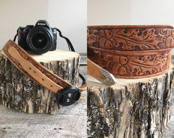 Leather Camera Strap //  Vintage Camera Strap  //  OAK LEAF