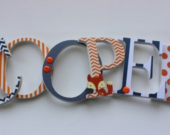 Custom Wood Letters, Baby Boy,  Lucky Fox Theme, Forest nursery decor, Navy Blue and Orange, Woodland, Chevron, any size or font