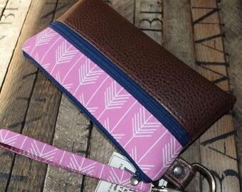 Pink Arrow and Vegan Wristlet, Smart Phone Bag, Grab N Go Wristlet, Clutch, Wallet, Pink and Brown Vegan Clutch, Smart Phone Bag