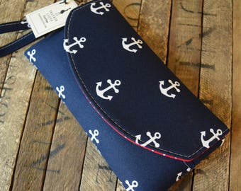 Anchor Smart Phone Wallet, Smart Phone Bag, Grab N Go, Phone Wallet, Phone Wristlet, Anchor Wallet, Bridesmaids Gifts, Wedding Clutch
