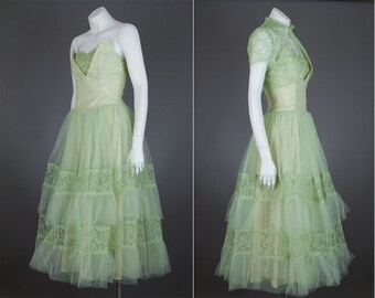 vintage 1950s green party dress with cropped bolero jacket