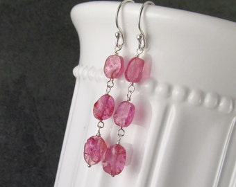 Pink sapphire earrings, handmade sterling silver earrings with rough hammered sapphire-OOAK