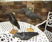 Vintage Old Paper Mache Black Crow Hunting Decoys(3) Glass Eyes, Not Repro/Primitive Farmhouse Decor