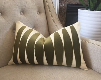 "Olive Velvet applique pillow cover - 12""x20"" - Pattern on the front - Made to order"
