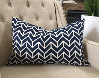 "Decorative Designer Pillow Cover - 15""x24"" - Decorators Walk by Schumacher Chevron Print  in navy - Pattern on the front"