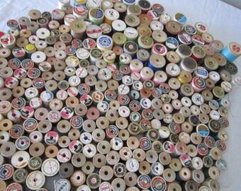 vintage thread - 412 wooden spools