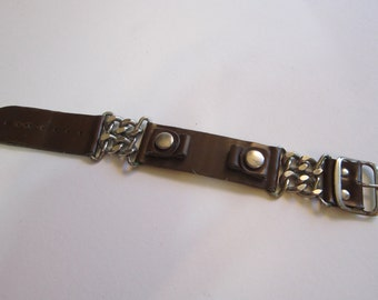 vintage watch band - chain and imitation leather - heavy wear, reuse, as is
