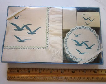 vintage paper napkins and coasters - SEAGULL motif - 20 each