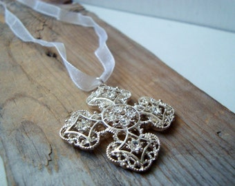 Silver Cross Necklace With Rhinestones Christmas Holiday Jewelry Spiritual First Communion Gifts Under 20 Religious Gifts Under 30 Bridal