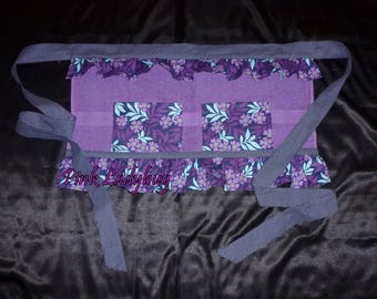 Purple Terry Cloth Apron Embellished with Navy and White Polka Dot and Floral Fabric is Ready to Ship