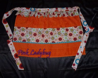 Orange Terry Cloth Apron Embellished with Bright Cotton Print Fabric is Ready to Ship