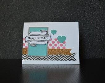 Happy Birthday - Hearts - Handmade Card