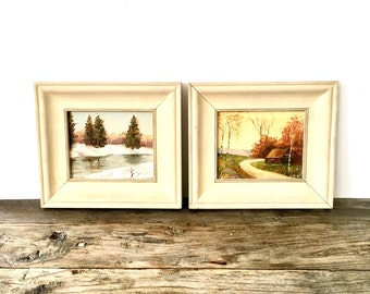Pair of small landscape paintings / Vintage framed Original Paintings