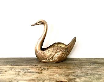 Solid Brass Swan Vase / Swan decor