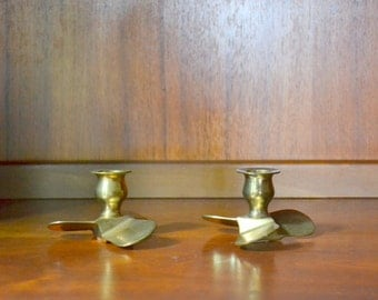 vintage brass propeller candle holders / nautical home decor / midcentury home decor