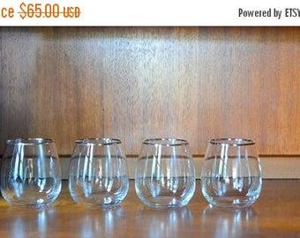 SALE 30% OFF vintage mid-century modern silver rimmed roly poly stemless wine glasses / vintage barware / vintage glassware
