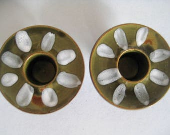 Pair Candle Holders Vintage Japan Mid Century Art Pottery