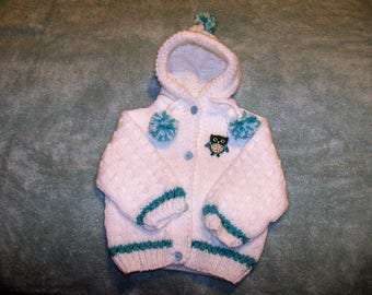 White Hoody with Aqua Contrasts and Owl Applique